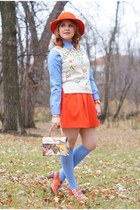 carrot orange wool feather vintage hat - periwinkle Hudson Room socks