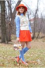 Carrot-orange-wool-feather-vintage-hat-periwinkle-hudson-room-socks
