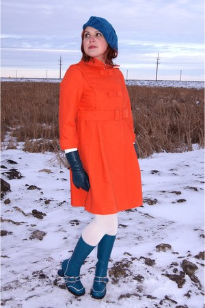 carrot orange Joe Fresh coat - teal Fluevog boots - teal le chateau hat