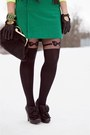 Green-wool-joe-fresh-skirt-black-leather-chie-mihara-boots