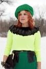 Green-wool-joe-fresh-skirt-black-leather-chie-mihara-boots