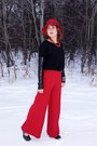 Black-object-top-red-wide-leg-pants-moda-international-pants