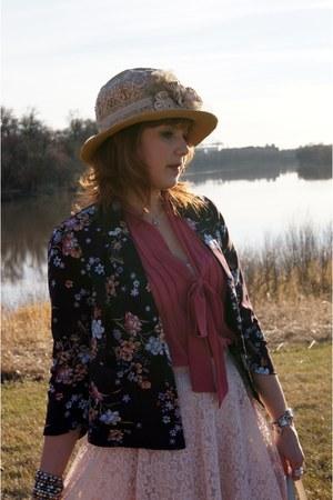deep purple flower print Forever 21 blazer - beige victorian straw vintage hat