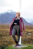 maroon coat - camel beret mohair hat - light brown cropped pants