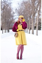 magenta faux fur jacket - mustard dress - magenta fishnets tights - camel bag