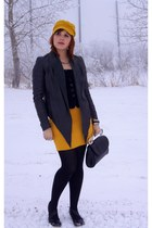 mustard Augus T hat - charcoal gray leather danier jacket - black Bodhi bag