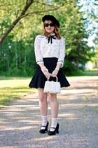 white Forever 21 blouse - black vintage hat - white wicker vintage purse