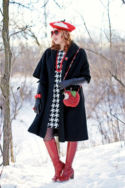 red apple crystal Mary Frances purse - red leather Fluevog boots