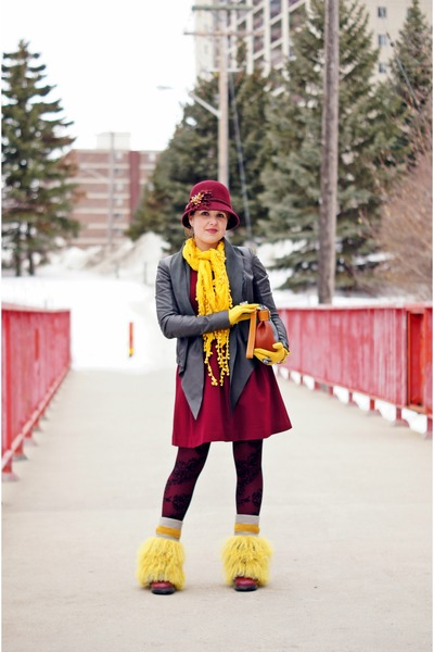 mustard spats boots - maroon fit and flare dress - maroon bell wool hat