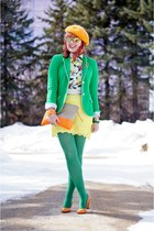 green Gap blazer - orange beret angora Local store hat - green Joe Fresh tights