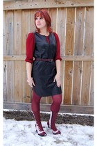 light pink Fluevog boots - maroon HUE tights - black leather dress danier jumper