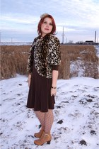 brown sisters jacket - camel Chie Mihara boots - dark brown le chateau dress