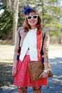 Coral-lace-forever-21-skirt-camel-color-blocked-bcbg-max-azria-jacket