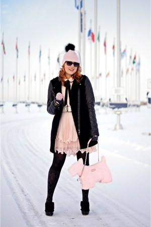 black boots - black wool leather coat - light pink wool veil hat
