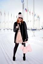 black boots - black wool leather coat - light pink wool veil hat