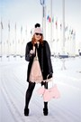 Black-boots-black-wool-leather-coat-light-pink-wool-veil-hat