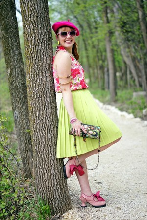 pink silk INC blouse - hot pink beret Ebay hat - chartreuse Mary Frances bag
