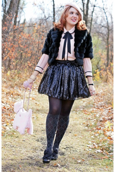 black faux fur Laura coat - black sparkle Pretty polly tights