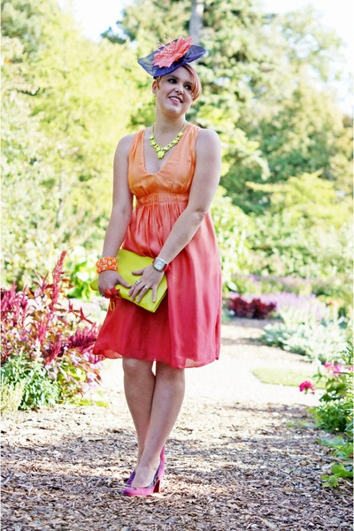 carrot orange neon winners bracelet - red silk ombre INC dress