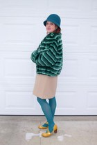 beige mod Moon dress - teal wool Nine West hat - teal Olympia jacket