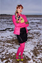 hot pink leather jacket danier jacket - white multicolor silk coach scarf