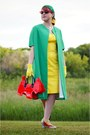 Yellow-calvin-klein-dress-chartreuse-vintage-coat-red-amliya-bag