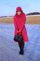 hot pink wool San Diego Hat Co hat - hot pink suede lambswool danier coat