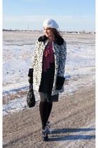 black polka dots Nygard skirt - ivory Topshop coat - salmon RW & Co blouse