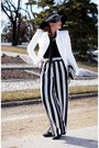 White-bcbg-max-azria-jacket-black-clutch-aldo-bag-black-forever-21-pants