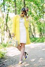White-crochet-lace-forever-21-dress-yellow-lace-knit-rachel-roy-coat