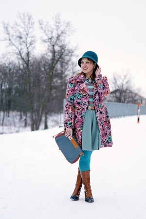 bubble gum coat - bronze boots - teal hat - camel sweater