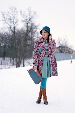 bubble gum coat - bronze boots - teal hat - camel sweater