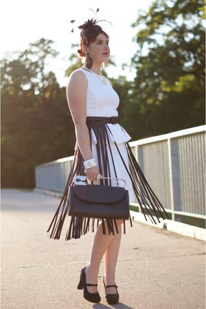 black fringe bcbg max azria belt - white peplum dress - black hat - black bag