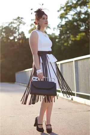 black fringe bcbg max azria belt - white peplum dress - black hat - black bag
