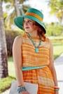 Turquoise-blue-straw-betmar-new-york-hat-orange-chiffon-topshop-dress