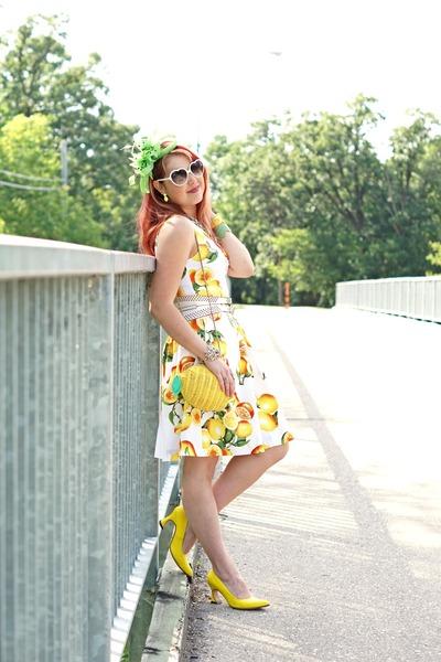 yellow lemon print dress - yellow lemon wicker bag - white belt