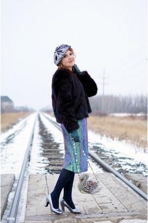 navy faux fur jacket - silver swan bag - sky blue sequined skirt