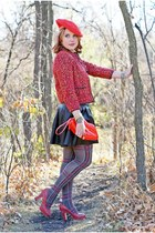 red tweed Forever 21 blazer - heather gray plaid Betsey Johnson tights