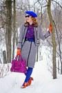 Magenta-leather-danier-bag-charcoal-gray-tweed-wool-pink-tartan-suit