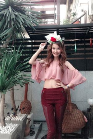burgundy H&M pants
