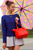 red leather kate spade bag - navy print tory burch shirt