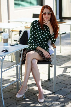 teal polka dots Zara blouse - tan cat-eye 31 philip lim sunglasses