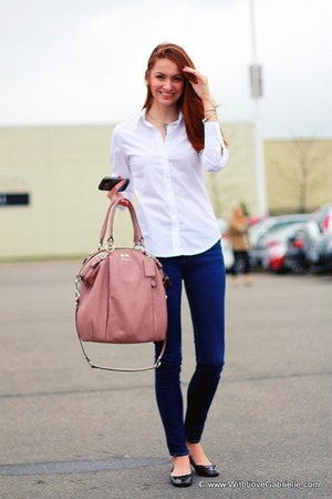 coach bag - 7 for all mankind jeans - Club Monaco blouse