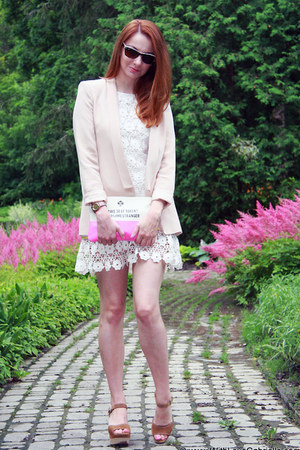 peach silk Pride and Glory blazer - white cotton Juicy Couture dress