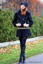 black Gucci boots - black H&M hat - black Cut25 jacket - tan Club Monaco top