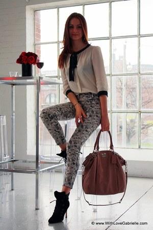 J Brand jeans - Manolo Blahnik boots - coach bag - talula babaton blouse