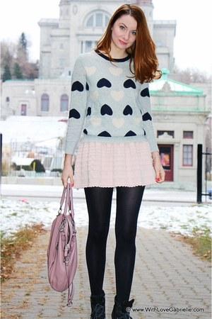JCrew sweater - Manolo Blahnik boots - coach bag - BCBG skirt - Pandora bracelet