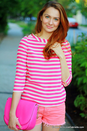 Juicy Couture shirt - kate spade bag - J Brand shorts - Missoni flats