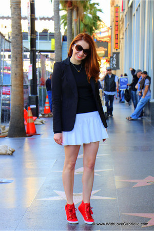BCBG skirt - Juicy Couture blazer - kate spade sunglasses - coach sneakers