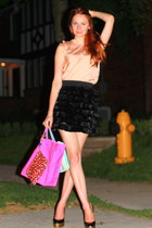 feather robert rodriguez skirt - coach purse - YSL heels - Club Monaco blouse